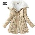 Novo 2017 casaco de inverno de algodão mulheres de slim plus size outwear médio-longo wadded jaqueta grossa de algodão com capuz amassado quente parka de algodão