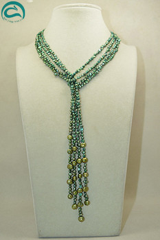 Unique Pearls jewellery Store 120cm Green Baroque Freshwater Pearl Necklace Handmade Charming Women Gift For Birthday Party