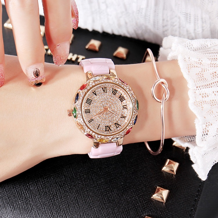 Fashion Pink Ceramic Women Colorful Bracelets Watches Luxury Lady Rhinestone Quartz Wristwatch Full Diamond Crystal Dress Watch fashion ladies wrist watches luxury brand crystal dress women watch shinning diamond rhinestone ceramic wristwatch quartz watch
