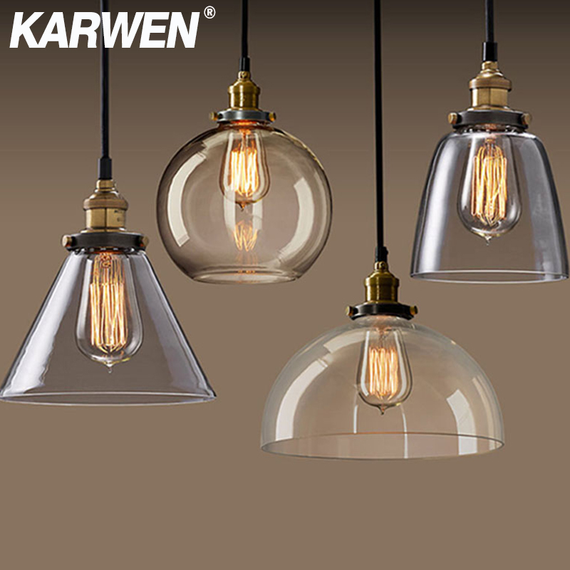 KARWEN Vintage Pendant Lights Amber Glass Pendant Lamp E27 Edison Bulb Dinning Room Home Decor Smoky Grey Pendant Hanging Lamp