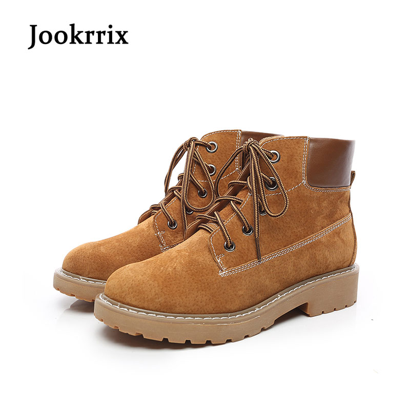 Фото Jookrrix Autumn Fashion Women Boots Ankle Martin Boots Warm Genuine Leather Boots Cross-tied Lady Leisure Shoe Female Soft Black