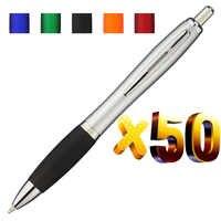 ロット 50 ピース格納式プラスチックガードボールペン、シルバーバレルボールペン、送料レーザー刻印カスタムプロモーションギフト、フェア宣伝