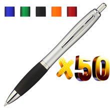 Lot 50 adet geri çekilebilir plastik kabak tükenmez kalem, gümüş varil tükenmez, ücretsiz lazer kazınmış özel promosyon hediyeler, uygun reklam