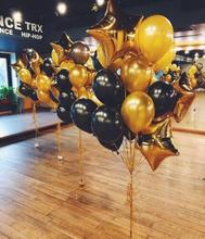 1set 12 Inch Black Gold Pearl Latex Balloons With 18 Star Wedding Birthday Party Decor Inflatable Air Ballon Supplies