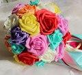 2017 Дешевые Свадебные/Невесты Свадебный Букет Радуга Красочный Роуз Ручной Искусственный Цветок Букет де mariage рамо де-ла-бода