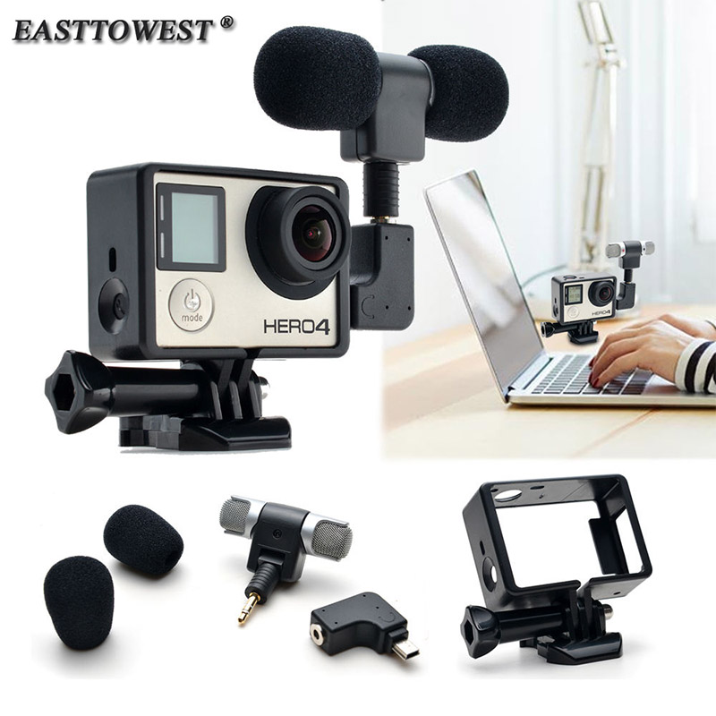 Easttowest 3.5mm External Mini Stereo Microphone Mic + Adapter + Standard Frame Accessories for Go pro Hero 4 3+ 3 Action Camera