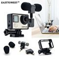 Easttowest 3.5mm External Mini Stereo Microphone Mic + Adapter + Standard Frame Accessories for Gopro Hero 4 3+ 3 Action Camera