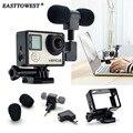 Easttowest 3.5mm Mini Mic Microfone Estéreo Externo + Adaptador + acessórios quadro padrão para gopro hero 4 3 + 3 ação câmera