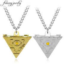 feimeng jewelry Anime Yu-Gi-Oh Necklace Game Yugioh 3D Millenium Puzzle Pendant Pyramid Egyptian Eye Of Horus Necklace For Men(China)