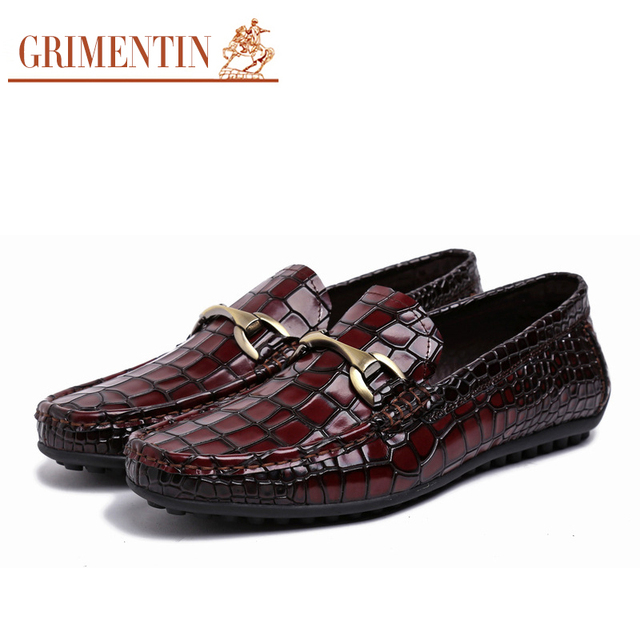 GRIMENTIN Mens Loafers Genuine Leather Italian Luxury Crocodile Style Slip On Buckle Smart Casual Dress Shoes For Male 3z81