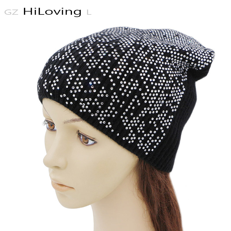 GZHilovingL New Winter Wool Hat For Women Knitted Rhinestone Hats Solid Color Warm Soft Women Skullies Beanies Caps Girls hats 2016 new beautiful colorful ball warm winter beanies women caps casual sweet knitted hats for women outdoor travel free shipping
