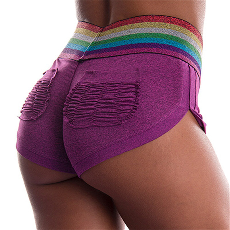 Multicolor Patchwork Sexy Push Up Women Short Shorts Bottom Packets Elastic Dry Quick Sporting Fitness Slim Shorts feminino