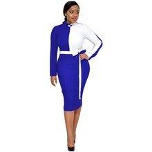 ชุดแอฟริกันสำหรับผู้หญิงอย่างเป็นทางการความคมชัดสีแขนยาว Office Lady Elegant Slim ผ้าพันแผล Commuted เสื้อผ้าหญิง