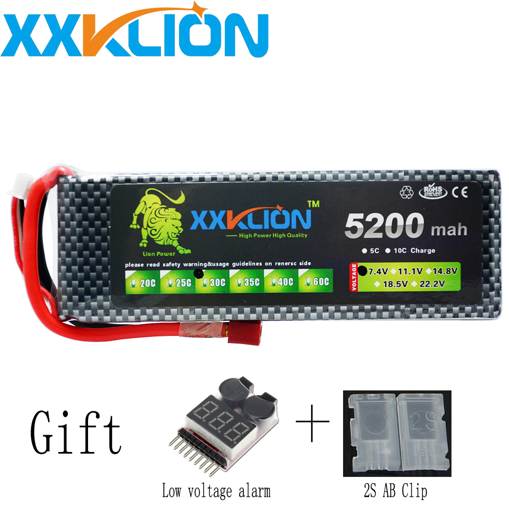 XXKLION 2S Lipo Battery 7.4v 5200mAh 30C for remote control helicopter rc car rc boat lithium polymer wild scorpion rc 18 5v 5500mah 35c li polymer lipo battery helicopter free shipping