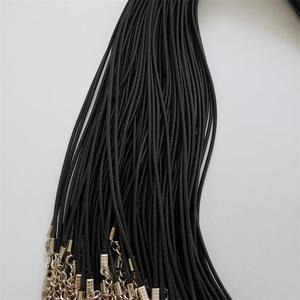Image 2 - Hurtownie 100 sztuk/partia 2mm czarny wosk Leather cord rope naszyjniki 45cm z zapięciem Lobster smycz wisiorek liny dla diy biżuteria