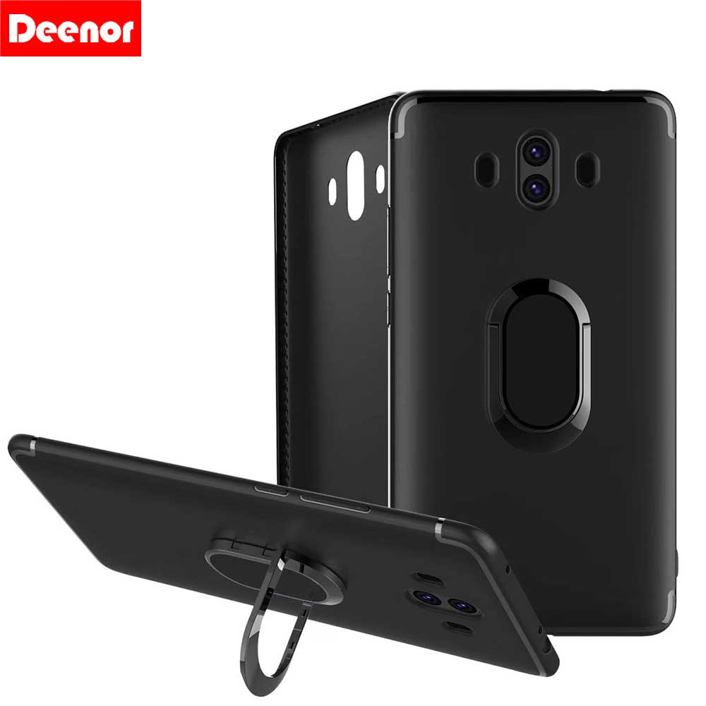 Deenor Soft TPU Case For Huawei Mate9 10pro Ultra-slim Cover With Finger Ring Cases For Huawei p10 p20 lite p10 p20pro Silicone