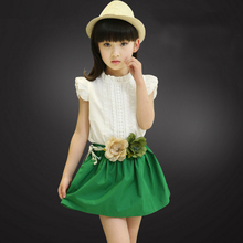 Lady Set Kids Clothes 2017 New Arrival Summer season Trend Petal Sleeve O-neck Sleeveless youngsters Kids's Units two piece