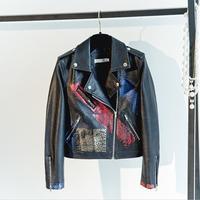 Pu abrigos 2018 nueva primavera verano impresión patrón pu chaqueta manga completo turn-Down collar Slim mujeres tops gx155