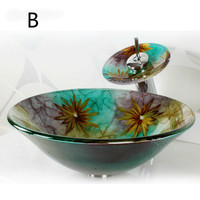 Tempered glass art above counter basin Washbasin washbasin glass vessel sink LU11211347