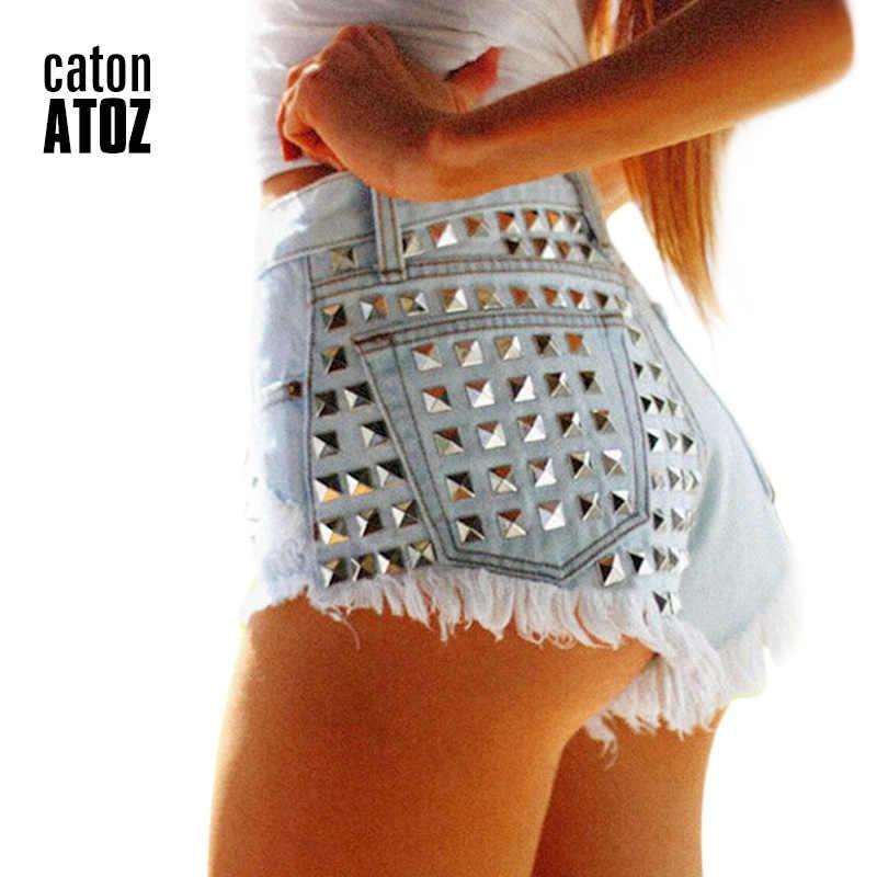37b3c681db7f catonATOZ 1805 Women's Fashion Brand Vintage Tassel Rivet Ripped Loose High  Waisted Short Jeans Punk Sexy