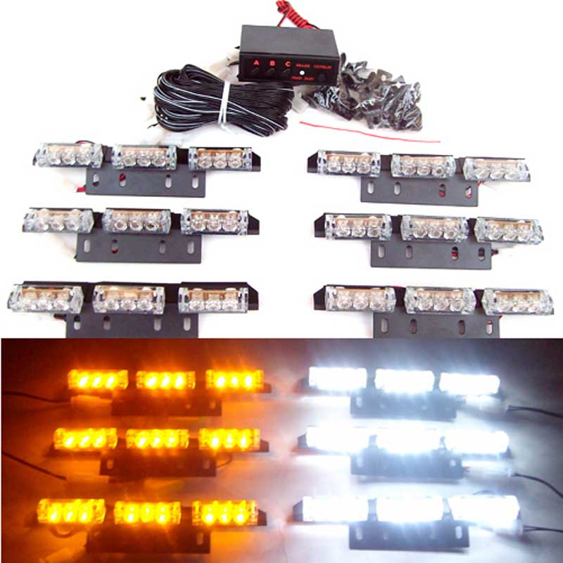 Wholesale 54 LED car truck  Auto Blink Flash Strobe snowy raining Emergency Light 3X6 panels warning light red blue amber white jerob snowy blue 240