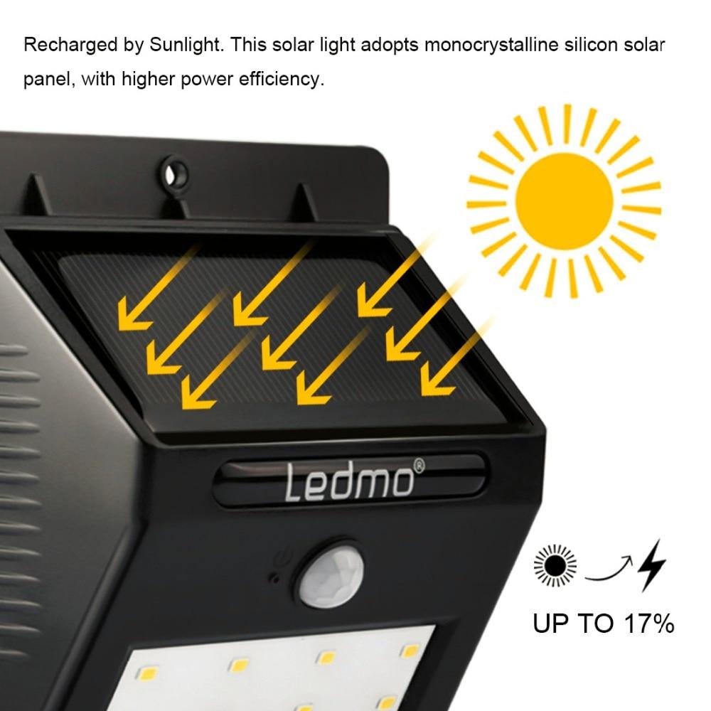 2018 LEDMO LED Solar Lamp 20Leds Waterproof Wall Light Solar Panel Movement Sensor Solar <font><b>Battery</b></font> Led Lamp