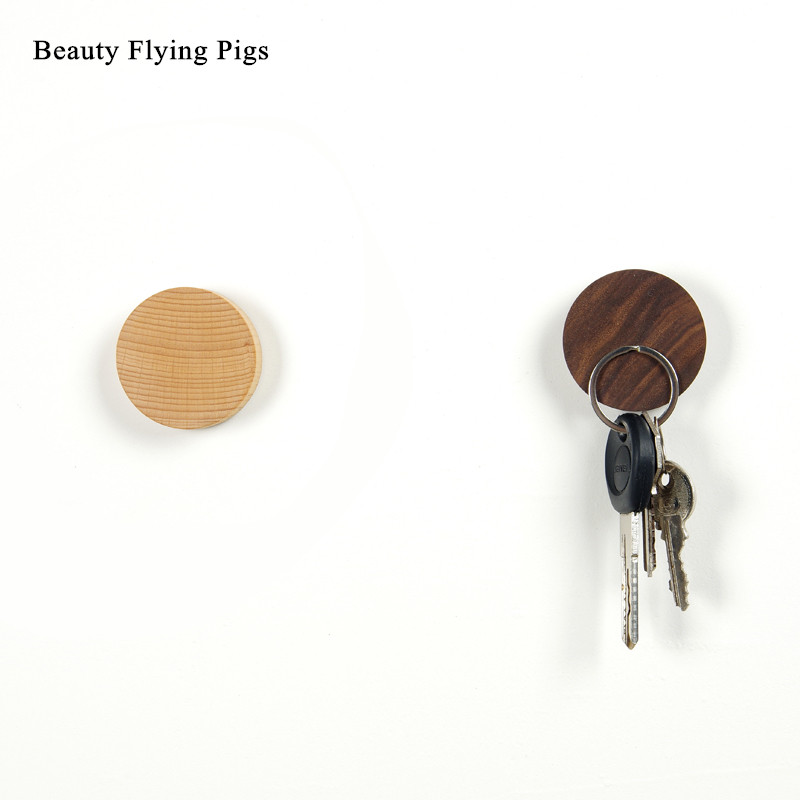 Solid wood key stick hook magnet suction hook no trace strong adhesive simple modern wooden wall storage note stickers