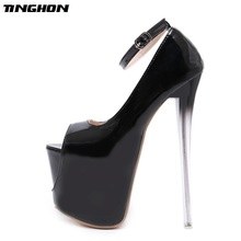 TINGHON Sexy Buckle Pumps Wedding Women Fetish Shoes Concise Woman Very High Heel 18 CM Stripper Club