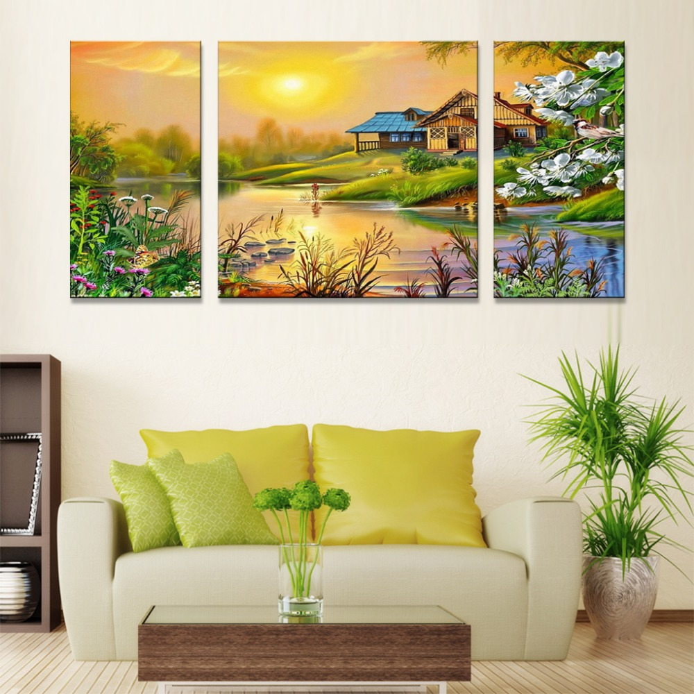 JHLJIAJUN Nordic Triptych Rural Scenery Canvas Painting Modular Oil ...