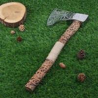 Nordic Vikings Pirati Rune Manico in Legno in Acciaio Inox Ascia
