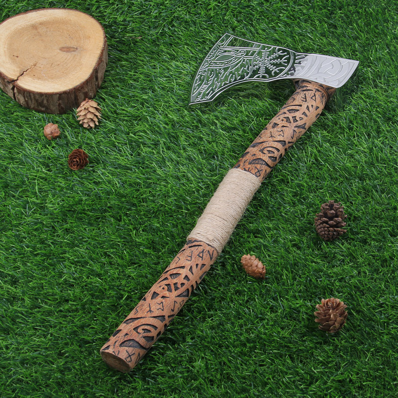 Vikings nordiques Pirates rune manche en bois avec hache en acier inoxydable