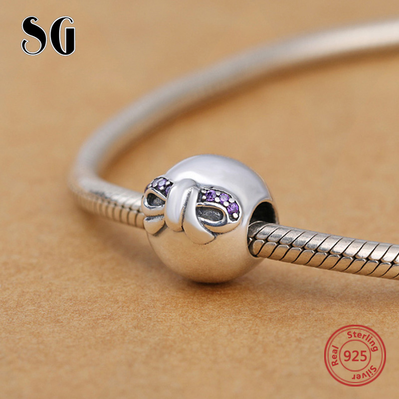 2018 Sterling Silver 925 bow tie Charms beads with CZ stone fit Authentic pandora Charm Bracelet diy Fashion Jewelry making gift