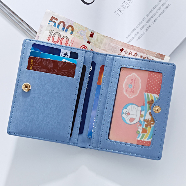 WEICHEN Thin Style Women Wallets Zipper Coin Bag in Back Blue Soft Leather Ladies Card Holder Slim Purse Female Wallet Small HOT 2