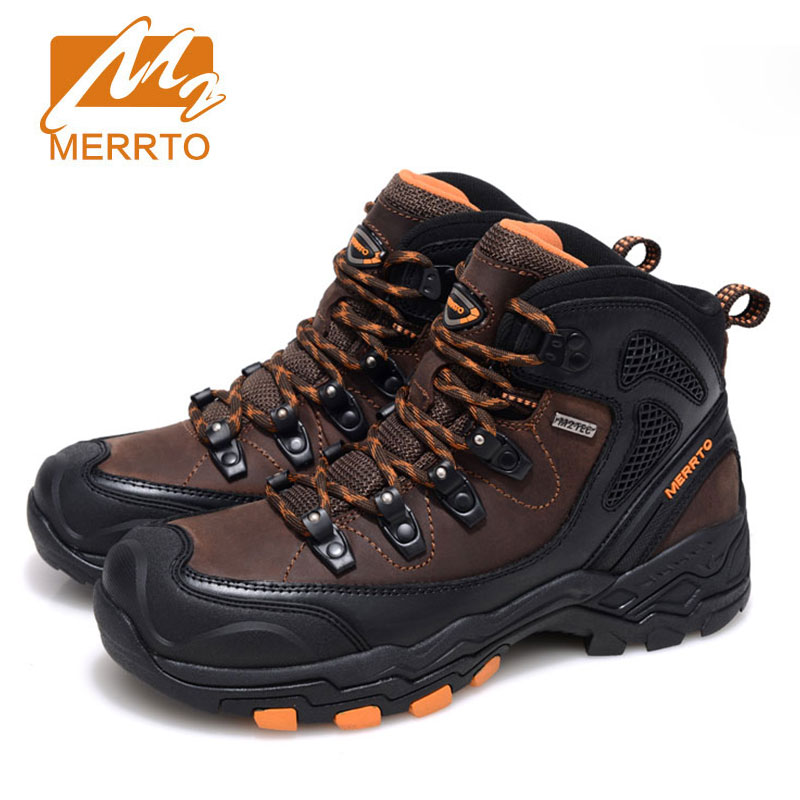 MERRTO Men's outdoor Tactical boots Hiking Shoes Cowhide Boots Rubber anti-skid waterproof Trekking High Top Shoe zapatos hombre merrto men s waterproof outdoor shoes mountain breathable genuine leather hiking shoes anti skid cowhide damping walking shoes
