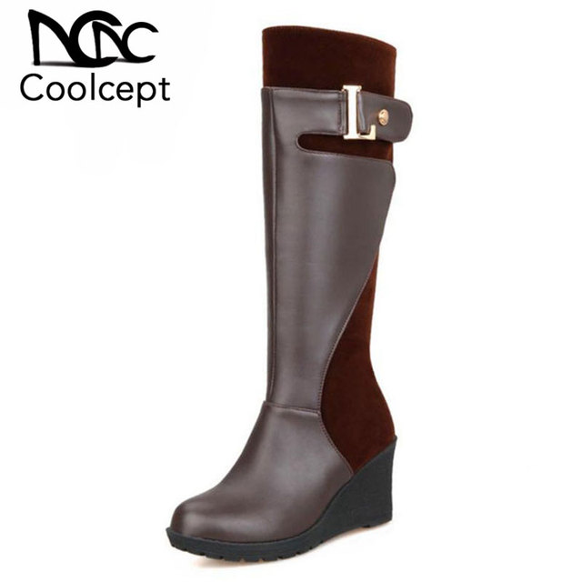 Coolcept Plus Size 30-52 Women High Wedges Boots Patchwork Winter Knee Boots Metal Buckle Women Shoes Office Ladies Boots