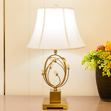 American Style Leaves Crystal Table Lamps Copper Color Metal Base Lamp For Living Room Bedroom Bedside Home Decor
