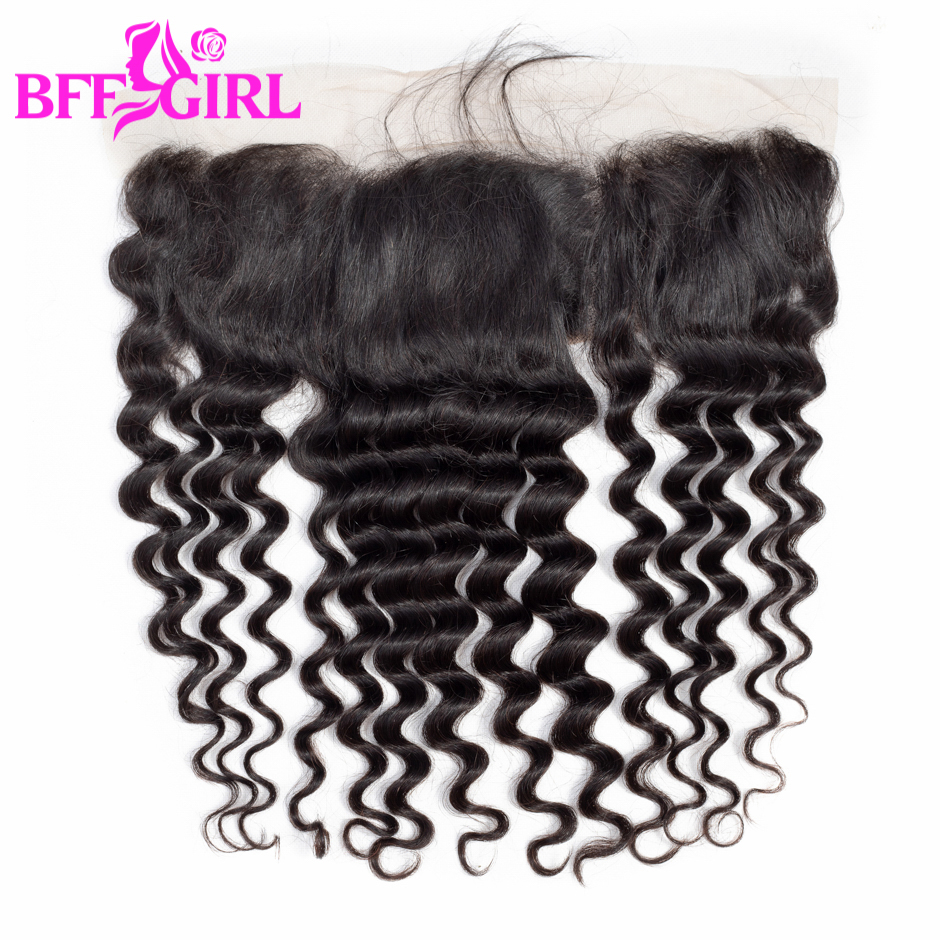BFF GIRL Loose Deep Wave Frontal Ear to Ear 13*4 Lace Frontal Closure With Baby Hair Natural Color Remy Human Hair Frontal