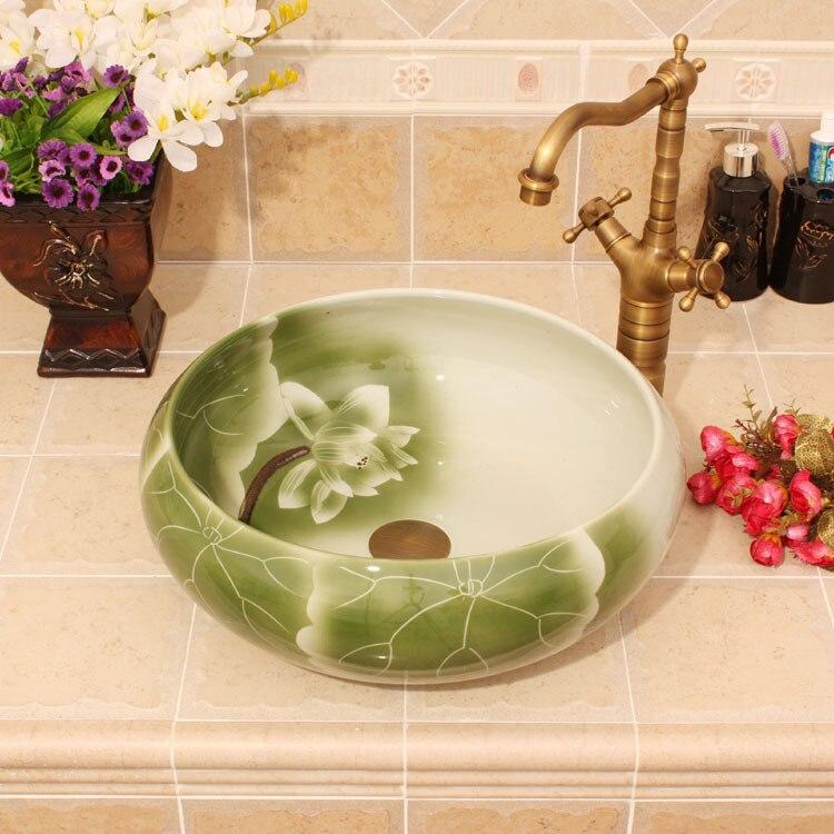 Porcelain China Classic Art Lotus Bathroom Sinks Ceramic Countertop Hand Painted Ceramic Vessel Sink China