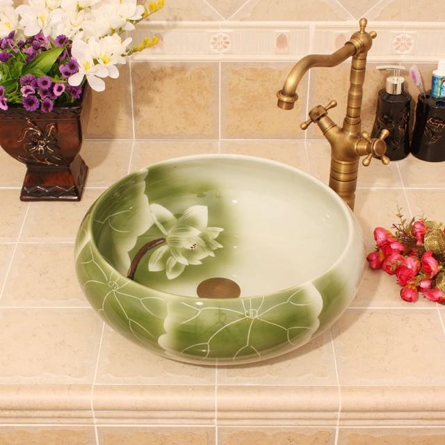 Porcelain China Classic Art Lotus Bathroom Sinks Ceramic Countertop Hand  Painted Ceramic Vessel Sink