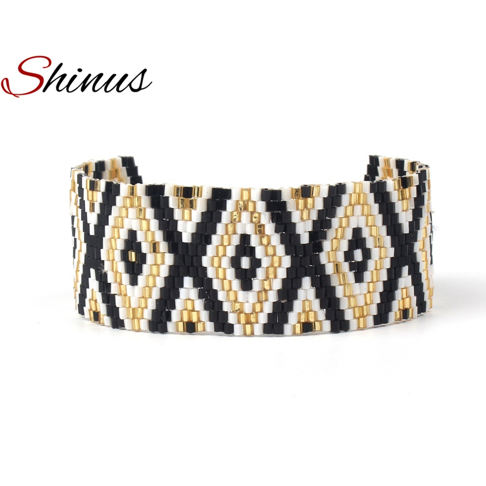Shinus MIYUKI Bracelets Women Jewelry Gifts Tassel Bracelet Armband Black Gold Seed Beads Handmade Loom Woven Geometric Pattern