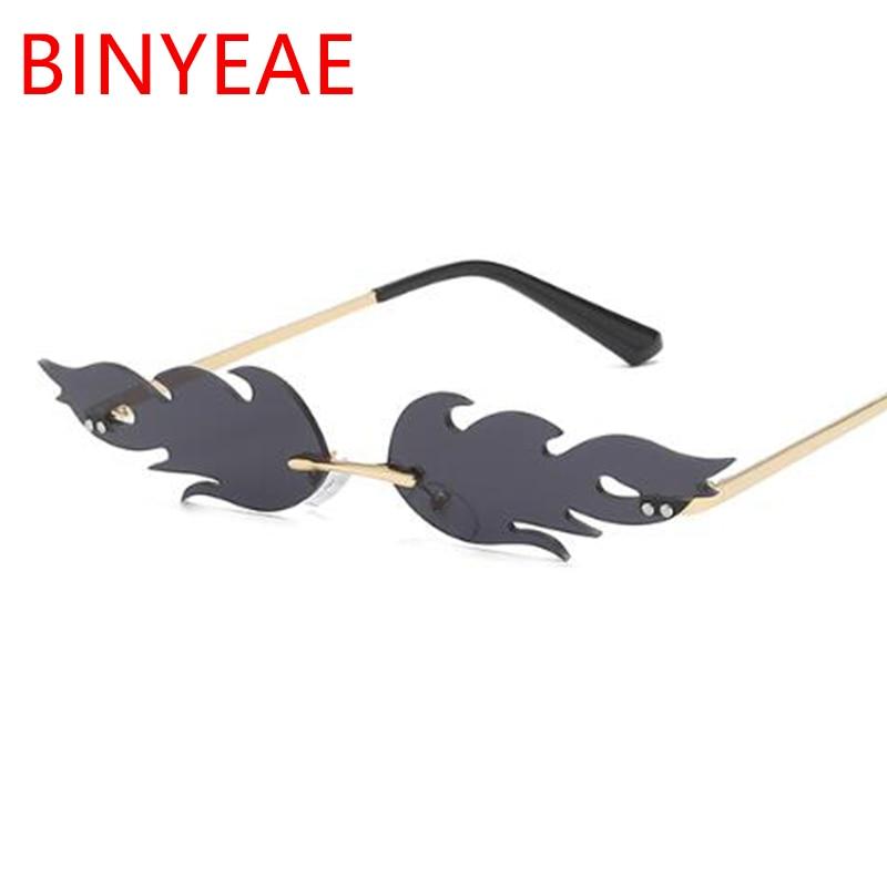 Flame sunglasses For Women Rimless Sun Glasses Narrow Eyewear Festival Rave Hot