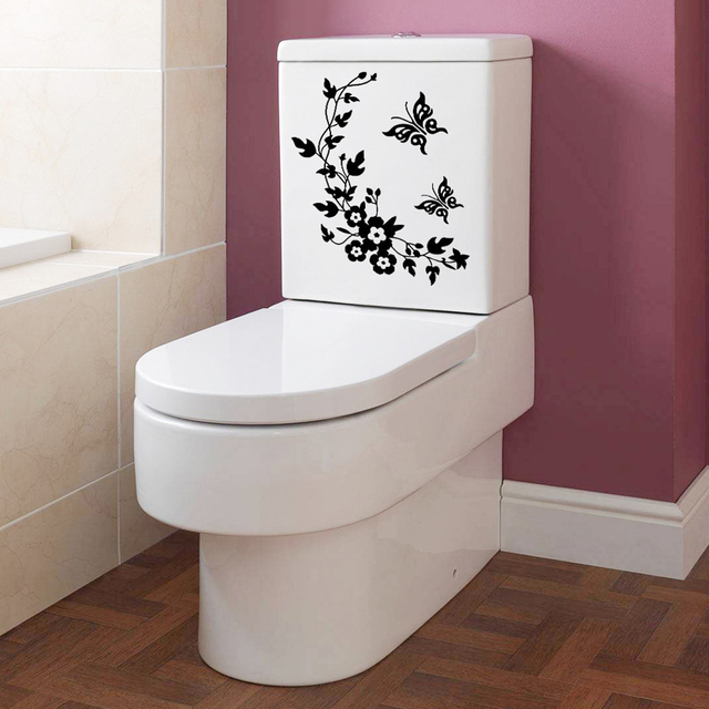Home Erfly Flower Bathroom Wall Stickers Decor Decoration Decals For Toilet Decal Sticker
