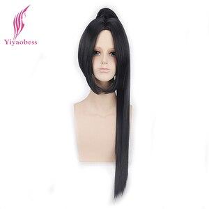 Image 4 - Yiyaobess 70cm sintético longo em linha reta branco preto cosplay peruca de cabelo com um rabo de cavalo perucas masculinas para homem