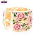 New 2015 Fashion High Quality Enamel Leaf Bracelet for Women Rose Flower Bracelets Bangles Cuff Austrian Crystals SKCA1785M