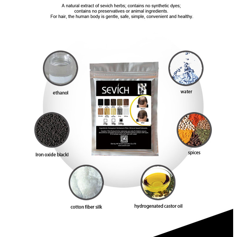 SEVICH Hair Powder Keratin Hair Fiber Building Thicker Hair Loss Concealer Hair Care Color Styling Dye Refill Bag 100g