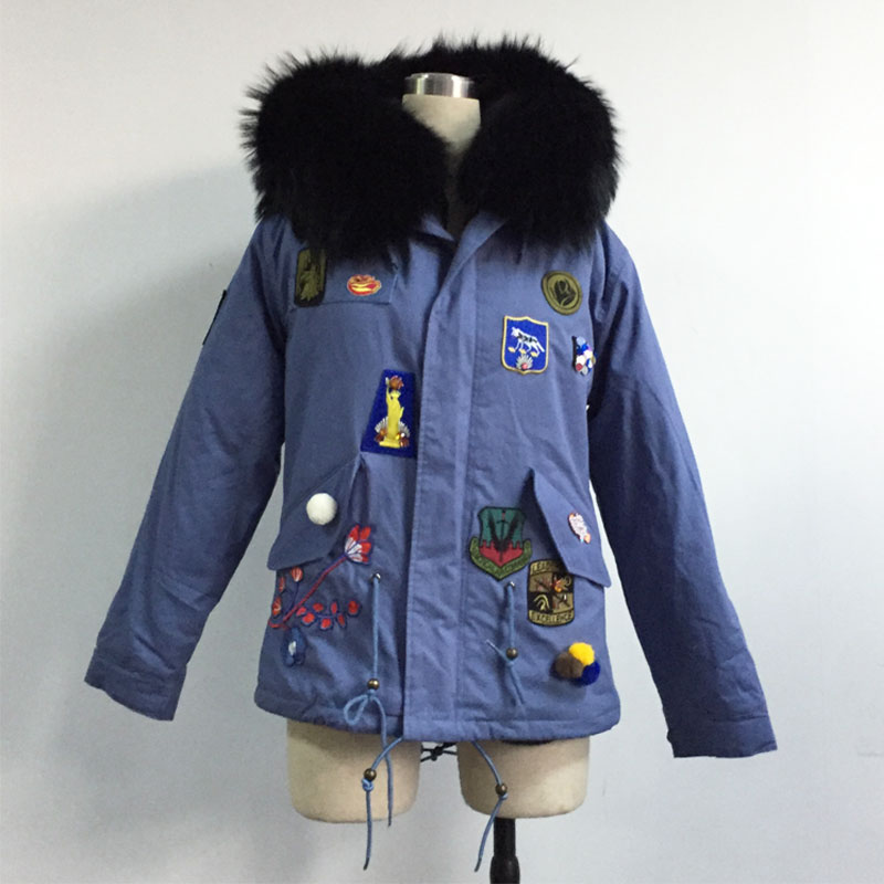 Couleur Manteau Fleur Bleu Denim Version Veste Courte Noir Collection Badge Nouvelle De Fourrure Broderie pq4tS4Y