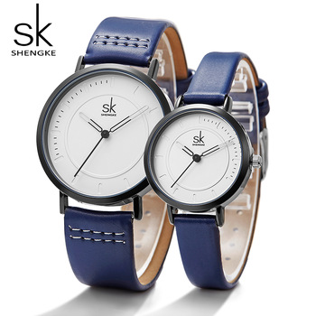 Shengke Watch Quartz Men's Ladies Wrist Watches Analog Blue Fashion Simple Leather Strap Valentine Love Birthday Gift Couple
