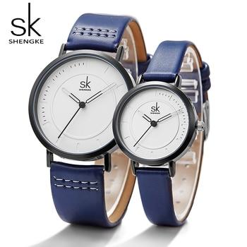Shengke montre Quartz hommes dames montres-bracelets analogique bleu mode Simple bracelet en cuir saint valentin amour cadeau d'anniversaire Couple