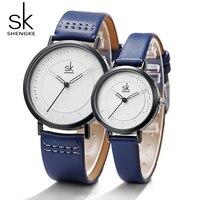 Shengke zegarek kwarcowy męski zegarek damski analogowy niebieski moda prosty skórzany pasek walentynkowa miłość urodziny prezent para w Zegarki dla zakochanych od Zegarki na