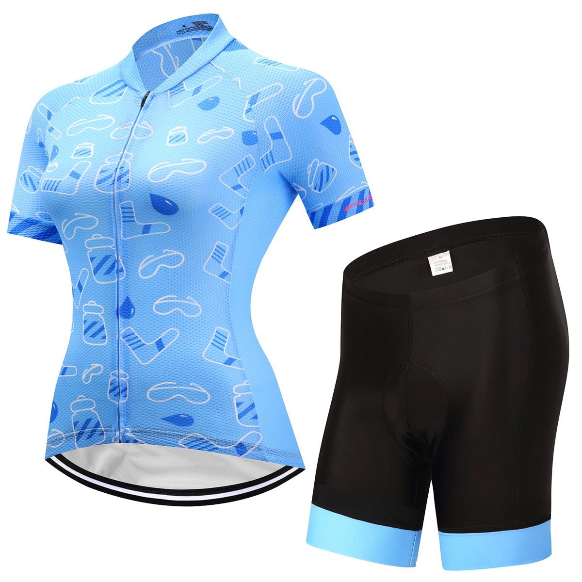 Fualrny Для женщин велосипед рубашка 100% полиэстер дышащая Велосипедный Спорт Одежда Лето УФ Велоспорт Джерси комплект короткий рукав Велосипе...